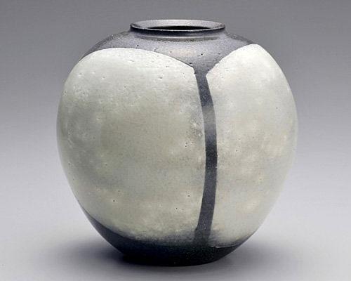 萩焼 花瓶 天龍窯 掛分花瓶 三戸逸雄作 木箱入