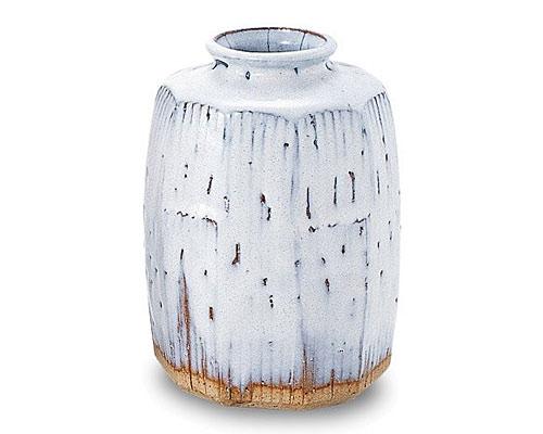 萩焼 花瓶 天龍窯 白萩面取花入 木箱入