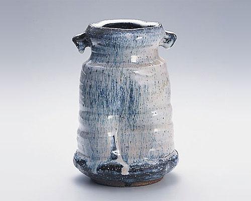 萩焼 花瓶 天龍窯 窯変耳付花入 木箱入