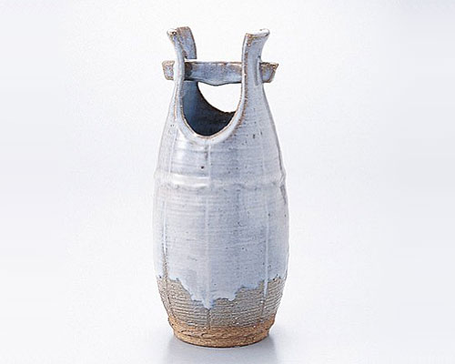 萩焼 花瓶 天龍窯 窯変手桶花入 木箱入