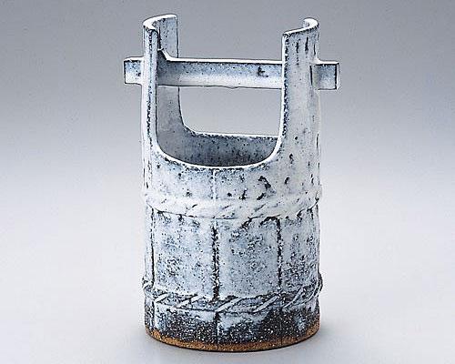 萩焼 花瓶 天龍窯 白萩手桶花入 木箱入