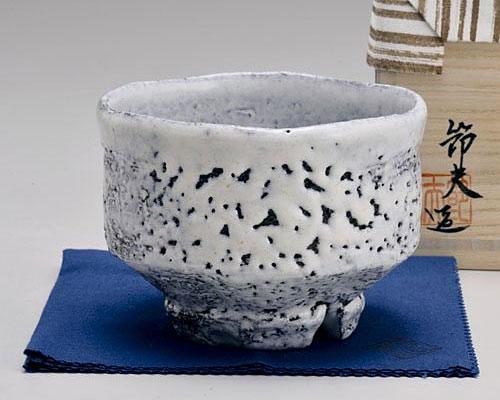 萩焼 抹茶碗 天龍窯 白萩楽形茶碗 原節夫作 木箱入