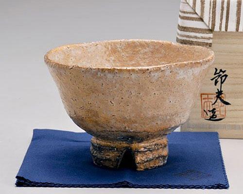 萩焼 抹茶碗 天龍窯 萩枇杷井戸形茶碗 原節夫作 木箱入