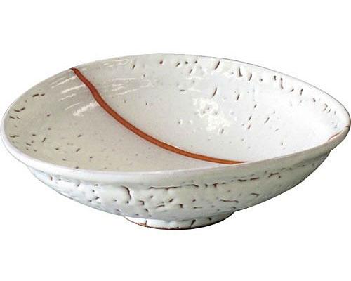 萩焼 鉢 白萩掛分大鉢