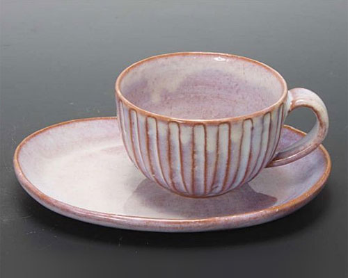 萩焼 碗皿 粉引紫碗皿