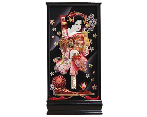 羽子板 ケース飾り 芙蓉 黒塗り 15号 あやか 浅妻