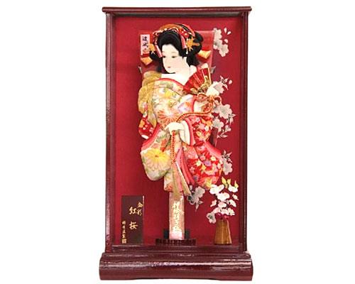 羽子板 ケース飾り 金彩紅桜 15号 あやか 道成寺