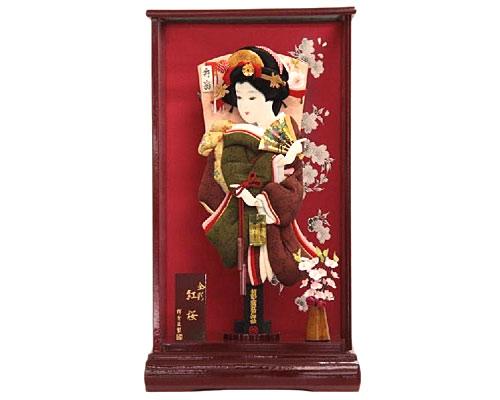 羽子板 ケース飾り 金彩紅桜 15号 人間国宝 喜多野良造 柿渋染