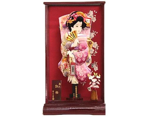 羽子板 ケース飾り 金彩紅桜 15号 刺繍梅絵四季花