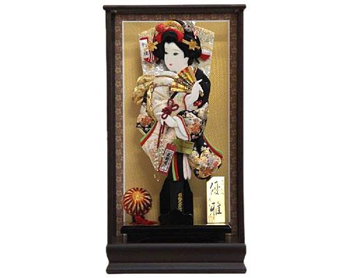 羽子板 ケース飾り 鉄刀木優雅 15号 金駒正絹刺繍