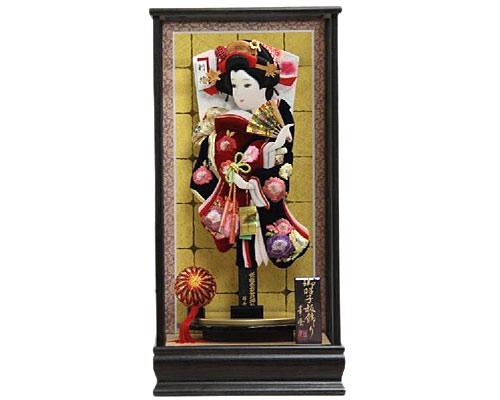 羽子板 ケース飾り 吉野 黒金バック 15号 さがのベルベット