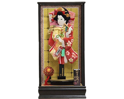 羽子板 ケース飾り 吉野 黒金バック 15号 さがの絞り桜