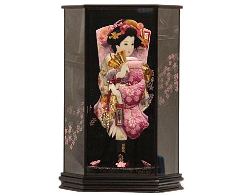 羽子板 ケース飾り 泉 15号 刺繍梅絵四季花