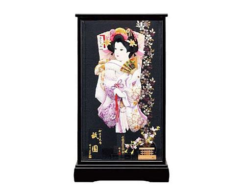 羽子板 ケース飾り 祇園 15号 紫彩