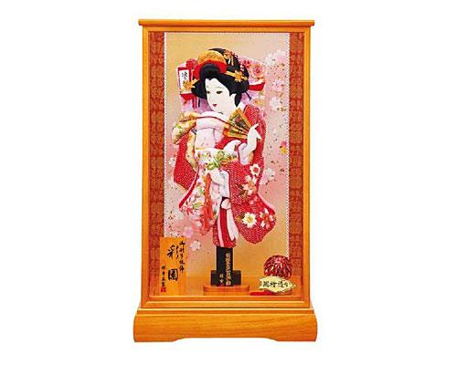 羽子板 ケース飾り 新彩園 15号 刺繍鴛鴦(赤)