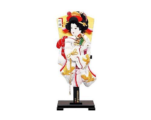 羽子板 台飾り 金刺繍鶴柄 18号