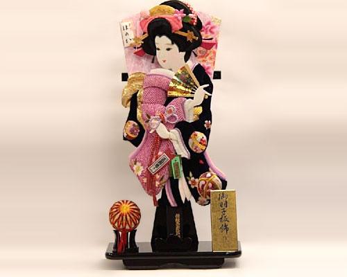 羽子板 台飾り Tさがのベルベット 18号 桜×まり 黒塗り
