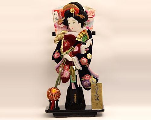 羽子板 台飾り ナさがのベルベット 18号 牡丹刺繍 黒塗り