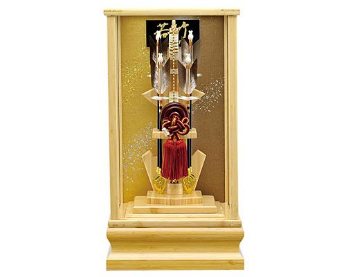 破魔弓 破魔矢 正月飾り ケース飾り 本竹 若竹 10号 面取りガラス