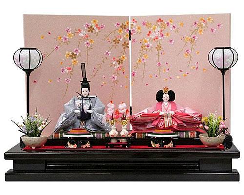 ひな人形 親王飾り 平飾り 波桜刺繍