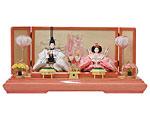ひな人形 親王飾り 平飾り 節句人形 金襴 絞り地小桜紋様に桜刺繍