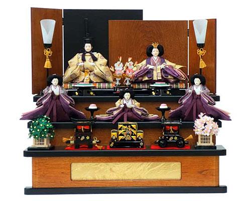 ひな人形 段飾り 節句人形 五人飾り 三段飾り 金襴 花菱地浮線綾文