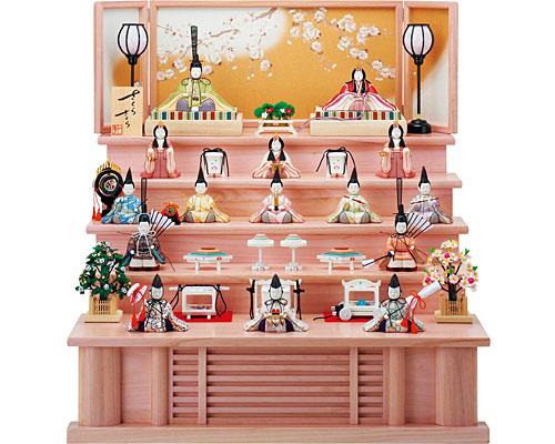 ひな人形 木目込み 五段飾り 一秀作 十五人飾り さくらさくら