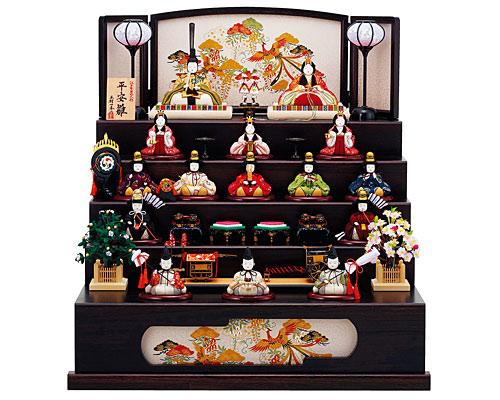 ひな人形 木目込み 五段飾り 一秀作 十五人飾り 平安雛