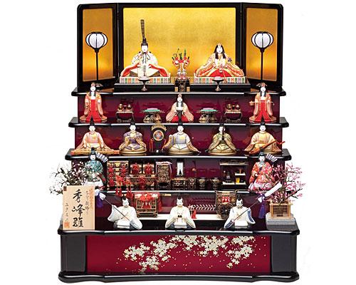 ひな人形 真多呂作 五段飾り 木目込み 秀峰雛15人揃