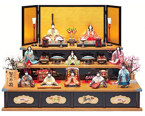 ひな人形 真多呂 三段飾り 木目込み 賢永雛10人揃