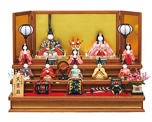 ひな人形 真多呂 三段飾り 木目込み 芙蓉雛10人揃