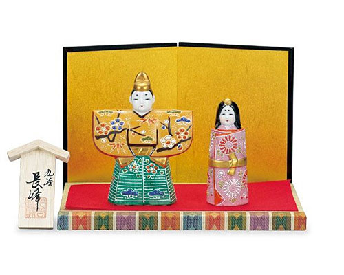 九谷焼 ひな人形 3.8号立雛 うす茶梅
