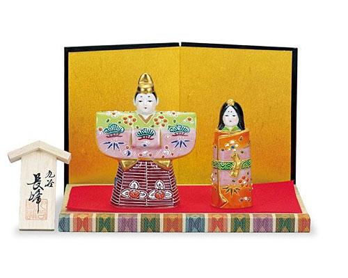 九谷焼 ひな人形 3.8号立雛 ひわ桃盛