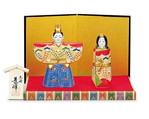 九谷焼 ひな人形 4.7号立雛 赤藤紋