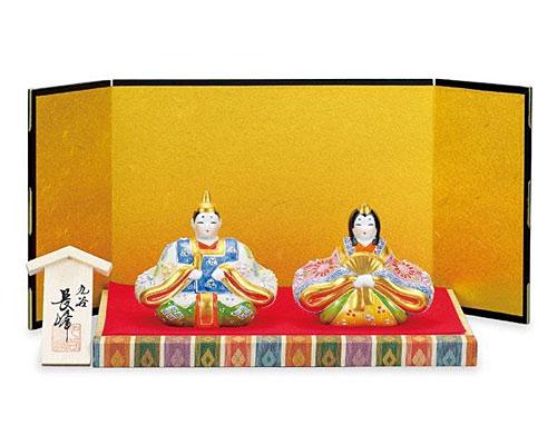九谷焼 ひな人形 3号座雛 白盛