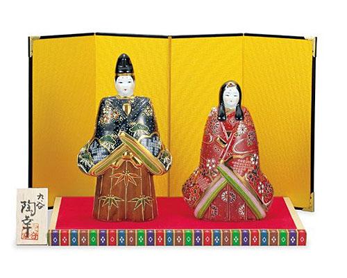 九谷焼 ひな人形 6.5号立雛 鹿の子盛