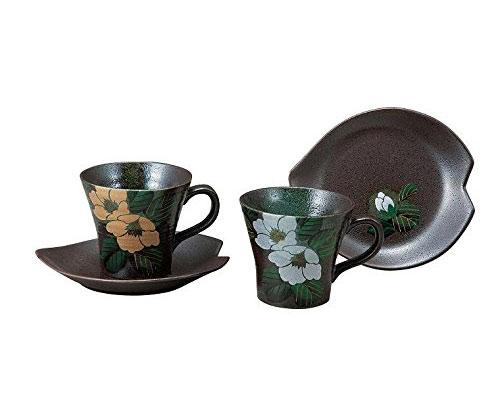 九谷焼 ペアコーヒー 金銀椿