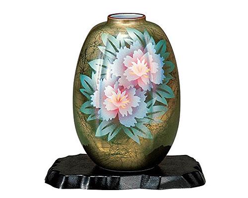 九谷焼 8号花瓶 牡丹 台付
