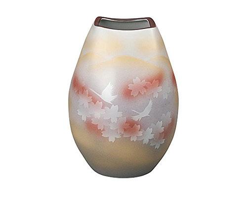 九谷焼 8号花瓶 花文鶴