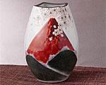九谷焼 8号花瓶 赤富士 福田良則