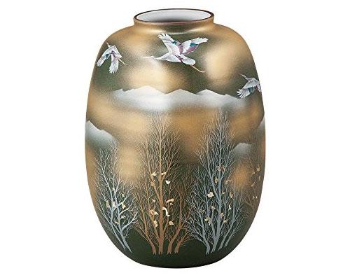 九谷焼 8号花瓶 金雲木立