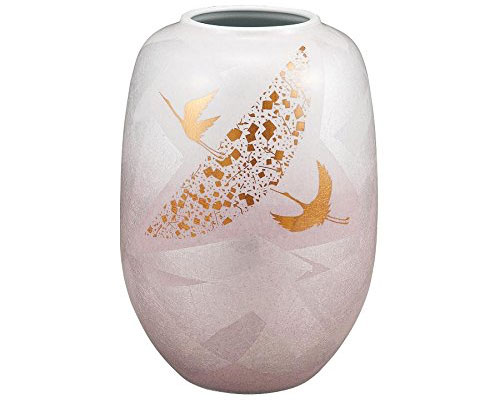 九谷焼 8号花瓶 銀彩鶴