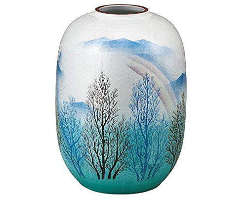 九谷焼 8号花瓶 銀彩木立連山