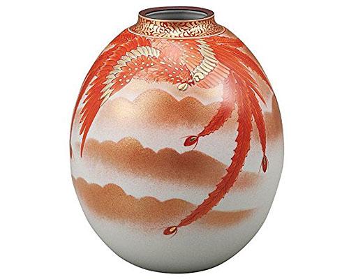 九谷焼 8号花瓶 赤絵鳳凰紋 福田良則