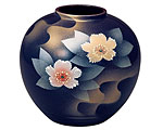 九谷焼 6号花瓶 銀彩山茶花