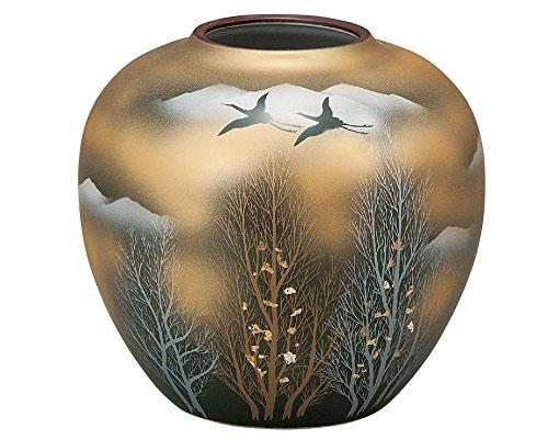 九谷焼 6号花瓶 金雲木立