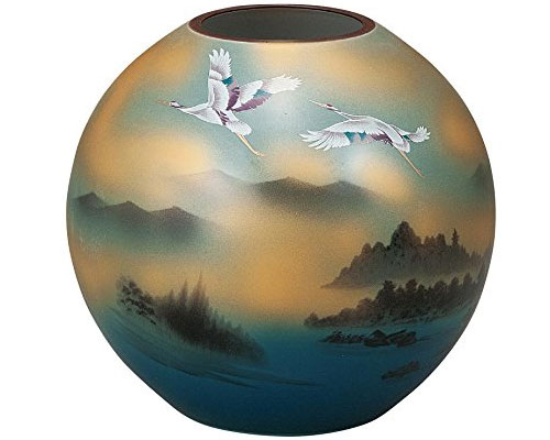 九谷焼 6号花瓶 鶴山水