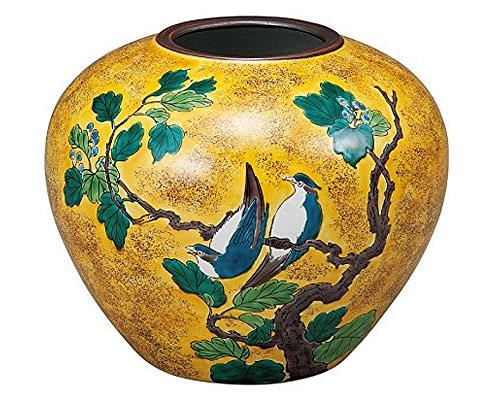 九谷焼 6号花瓶 吉田屋柏に鳥