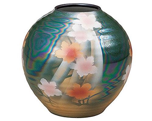 九谷焼 6.5号花瓶 花斜線
