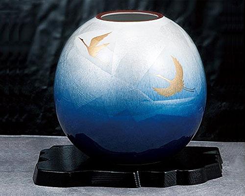九谷焼 5.8号花瓶 銀彩双鶴 台付